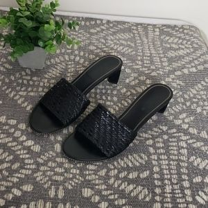 Cole Haan black woven leather heeled slides